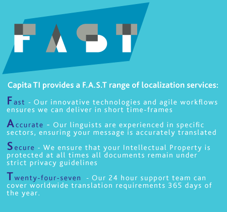 Fast, Our innovative technologies and agile workflows ensures we can deliver in short time-frames. Accurate, Our linguists are experienced in specific sectors, ensuring your message is accurately translated. Secure, We ensure that your intellectual property is protected at all times; all documents remain under strict privacy guidelines. Twenty-four-seven, Our 24 hour support team can cover worldwide translation requirement 365 days of the year