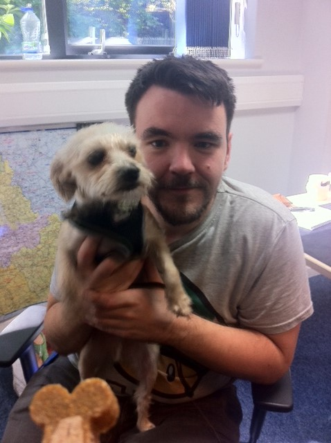 Elliot, IT technician and borkie (half yorkie, half bichon) Freddy - notice the treat in the front of the shot?!