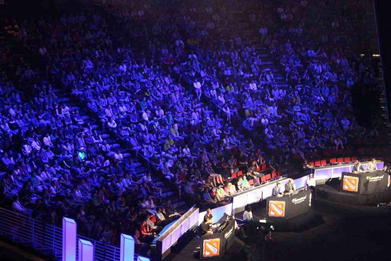 'No-one is on their cell phone. Everyone in the crowd is immensely engaged.' Spectators watch a game during the League of Legends 2015 finals.